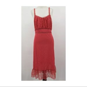Vintage Seamprufe Red Full Slip Size 36 Lace Ruffl